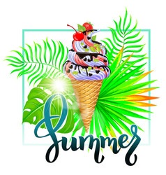 Summer ice cream composition with tropical leaves vector