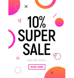 super sale banner 10 percent offer promotion vector image