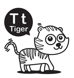T Tiger cartoon and alphabet for children to vector