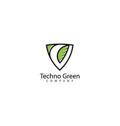 Techno green logo design icon vector