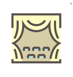 Theater and curtain icon design 48x48 pixel vector