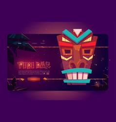 tiki bar website with wooden tribal mask vector image