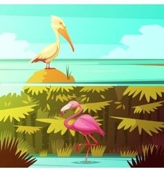 Tropical birds horizontal retro banners set vector