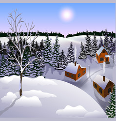 View of landscape of winter town from hill vector