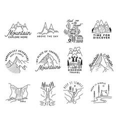 Vintage simple camp logo designs set outdoor vector