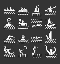 water sport icons set grey vector image