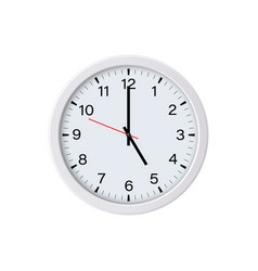 white round wall clock showing 5 oclock vector image
