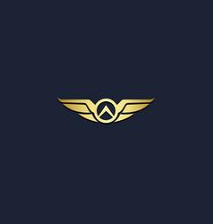 wing emblem gold logo vector image
