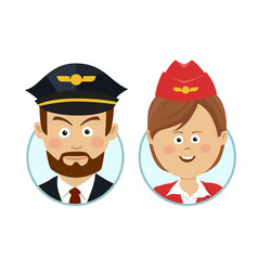 young pilot and beautiful stewardess avatars vector image