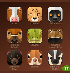 animal faces for app icons-set 17 vector image