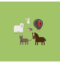 Different animals flat design icons set vector image vector image