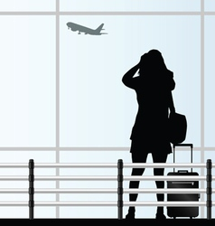 girl with a travel bag at the airport vector image
