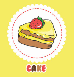 piece of cake with strawberry and pink yellow vector image vector image