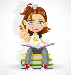 schoolgirl read book and makes the sign of peace vector image