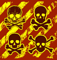set of skulls with crossbones vector image