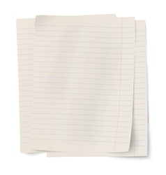 Stack of notebook paper sheets isolated on white vector image