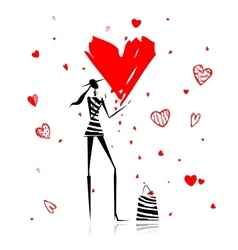 Valentine day Fashion girl with big red heart vector image