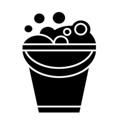 bucket with soap foam icon vector image