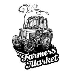 Farm tractor hand-drawn sketch vector