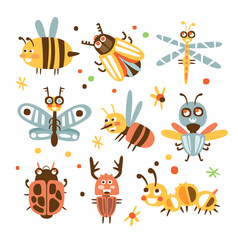 funky bugs and insects set of small animals with vector image vector image