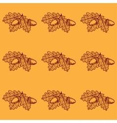Leaf Skeleton with acorn pattern vector image vector image