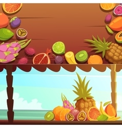 Tropical Island Fruit Banners Set vector image