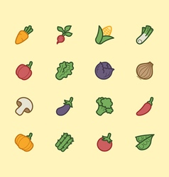 vegetable element color icon set vector image vector image