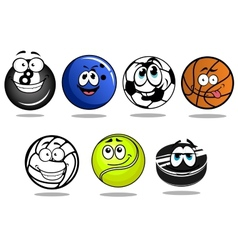 Balls and puck mascots cartoon characters vector image vector image