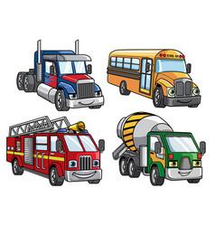 Cartoon truck set vector