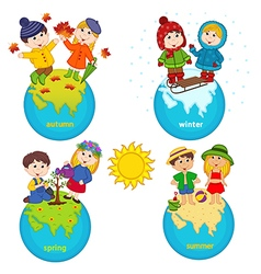 children and four seasons on planet vector image vector image