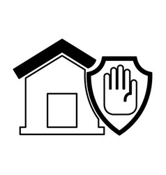 house insurance with hand stop isolated icon vector image