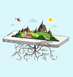 landscape on cellphone nature symbol vector image vector image