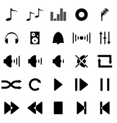 musical icons in black vector image
