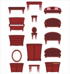 set of cartoon furniture vector image