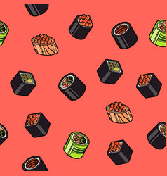 sushi flat outline isomeric pattern vector image