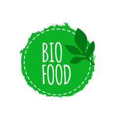 vegan logo bio food badge vegan healthy food vector image
