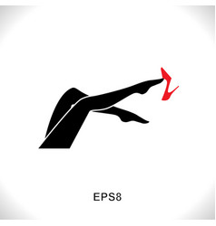 women leg icon with red shoe vector image