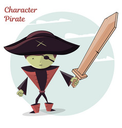 cartoon kids character pirate vector image