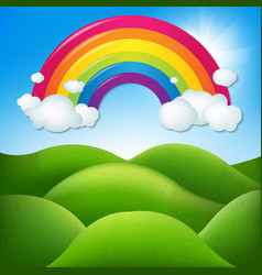 fantastic landscape with rainbow vector image