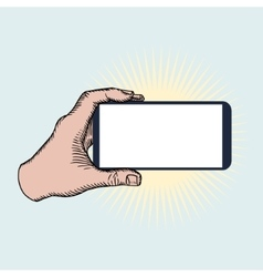 Hand Holding Mobile Phone Horizontally vector image vector image
