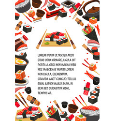 japan food seafood sushi banner template design vector image