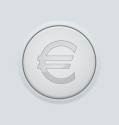 round button with euro sign on gray interface vector image