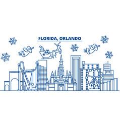 usa florida orlando winter city skyline merry vector image