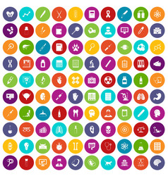 100 diagnostic icons set color vector image