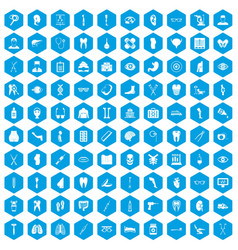 100 medicine icons set blue vector