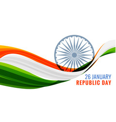 26th january happy republic day banner with vector