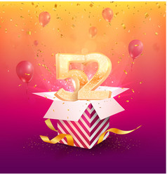 52nd years anniversary design element vector image
