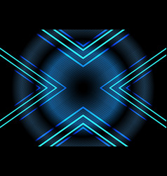 abstract blue neon light arrow pattern on dark vector image