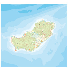 Abstract island map pattern with topographic vector