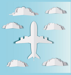 Airplane flying with cloudscape vector